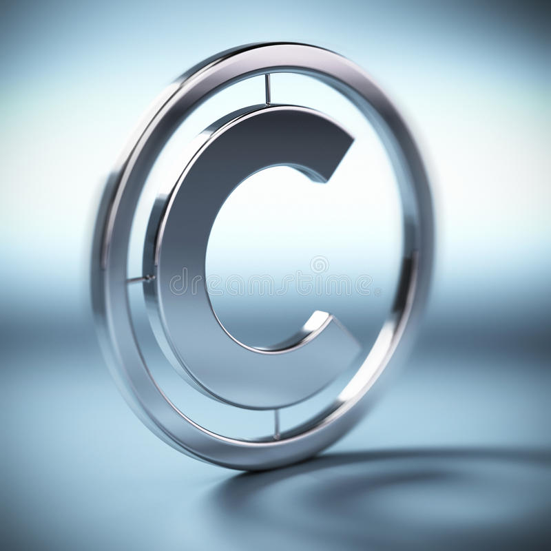Copyright symbol. Metal copyright symbol onto a blue background square image with blur royalty free illustration
