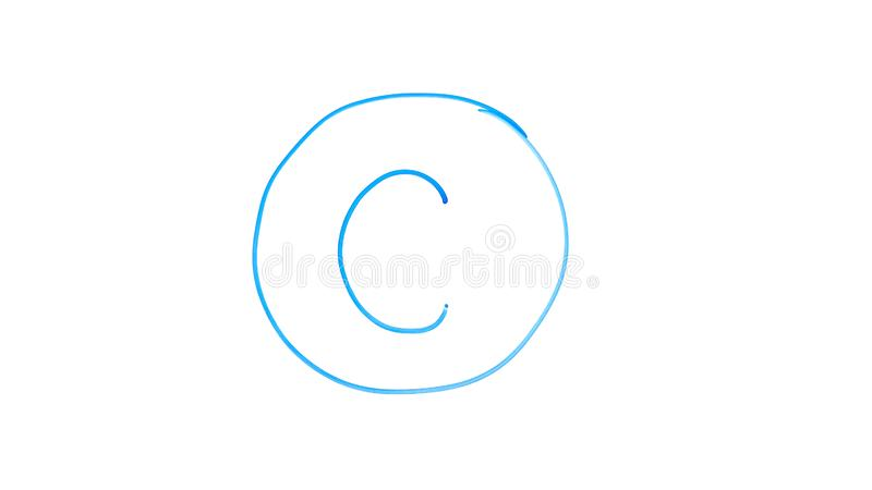 Copyright symbol, circled letter c written on glass, literary property under law. Stock photo royalty free stock photos