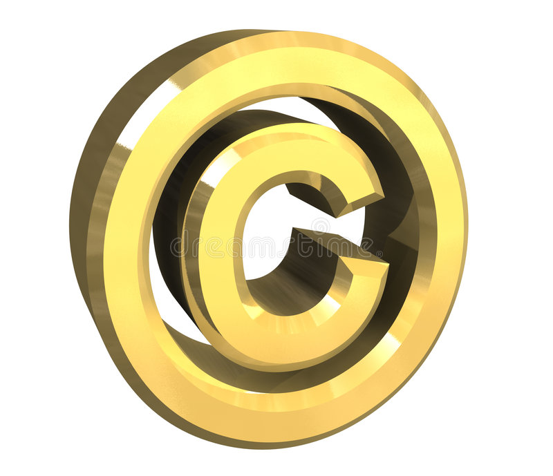 Copyright symbol in gold (3d). Copyright symbol in gold (3d made vector illustration