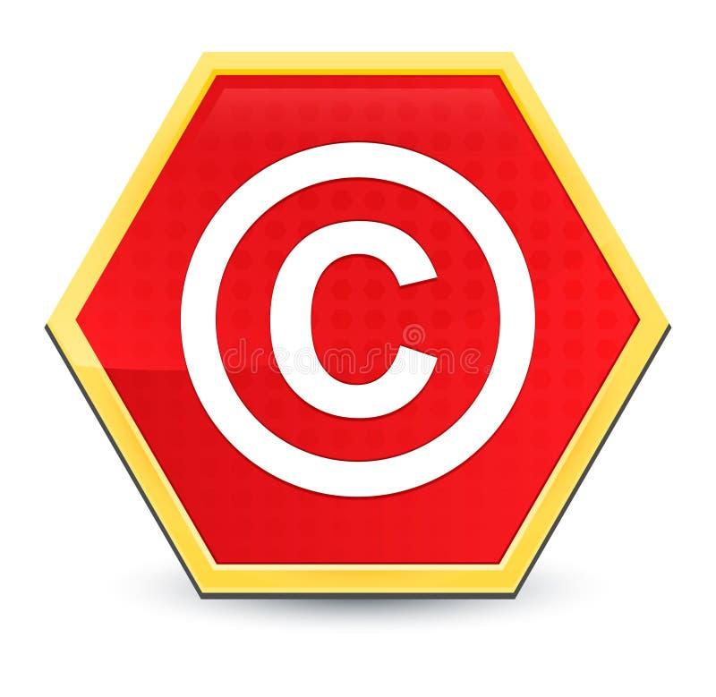 Copyright symbol icon abstract red hexagon button bright yellow frame elegant design royalty free illustration