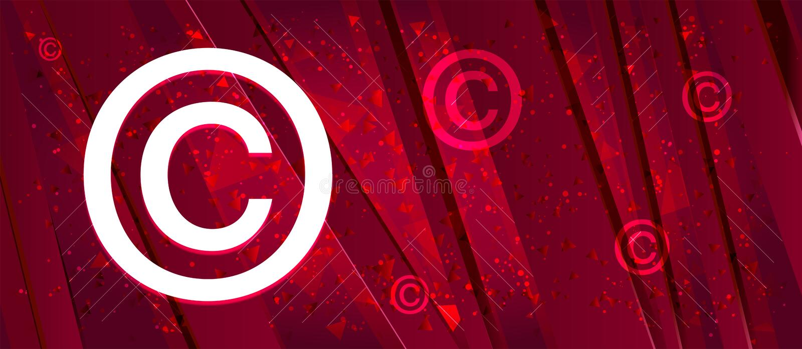 Copyright symbol icon Abstract design bright red banner background royalty free illustration