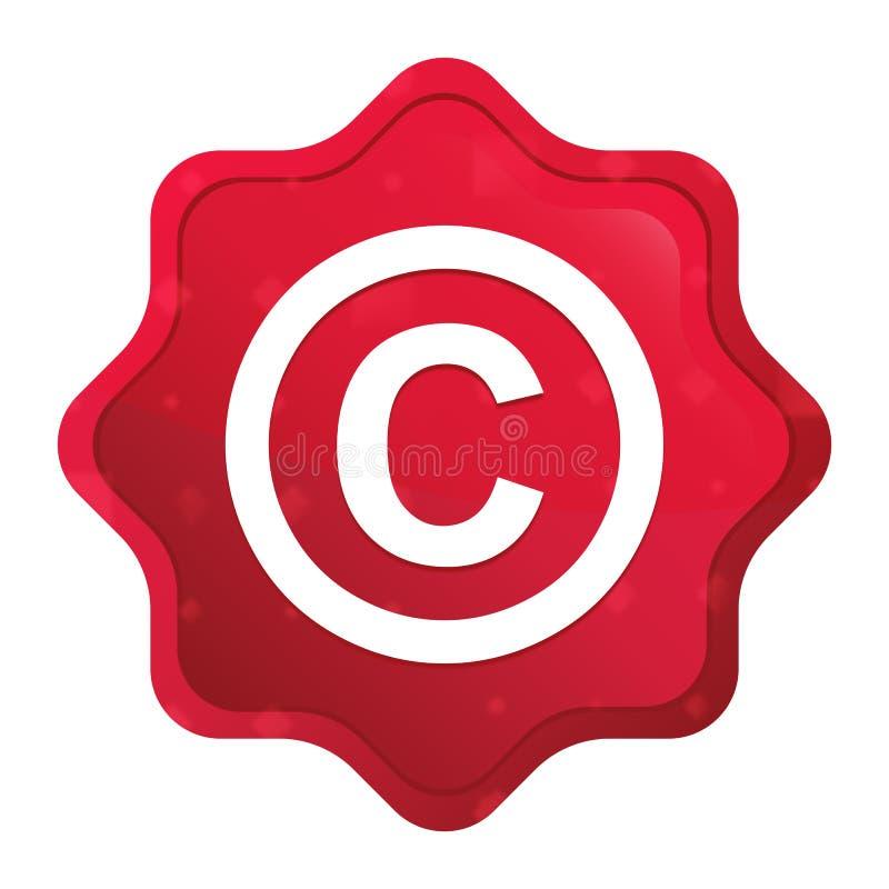Copyright symbol icon misty rose red starburst sticker button stock illustration
