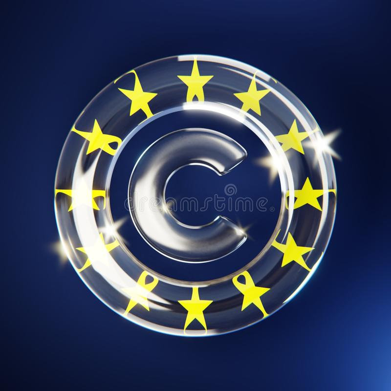Europe Copyright Directive. Copyright symbol made of glass in front of european flag, blue, yellow stars royalty free illustration