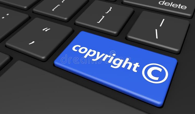 Copyright symbol på datortangentbordet vektor illustrationer