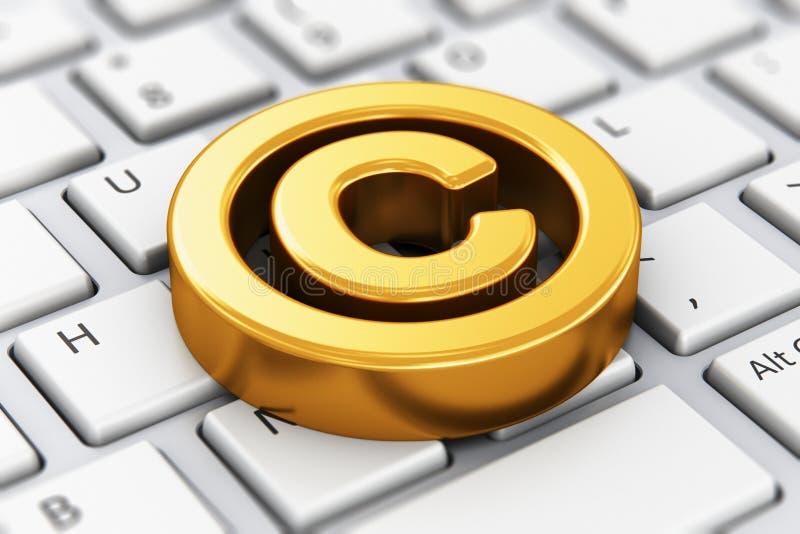 Copyright-symbool op computertoetsenbord royalty-vrije illustratie