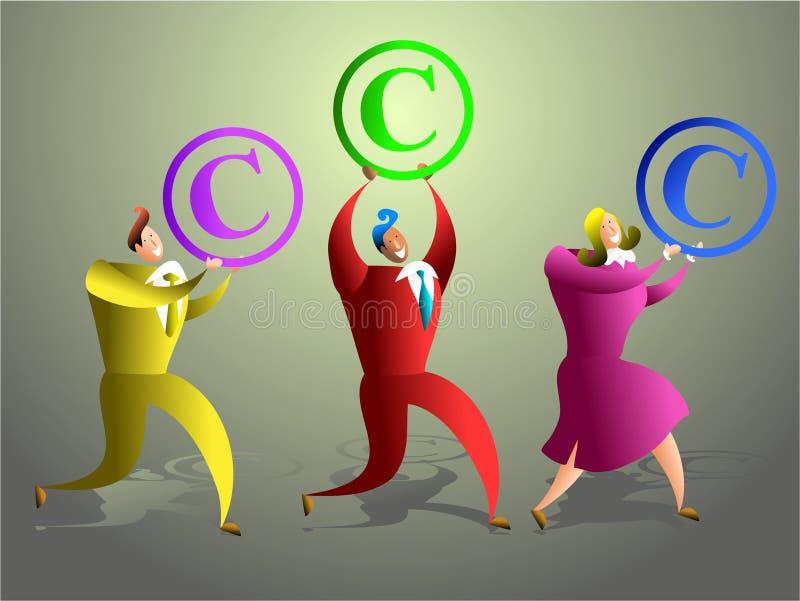 Copyright team. Happy business team carrying copyright symbols - concept illustration royalty free illustration