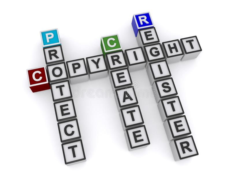 Copyright. Text 'copyright, protect, create and register' inscribed on small cubes and arranged crossword style with common letters 'O, R and G', white vector illustration