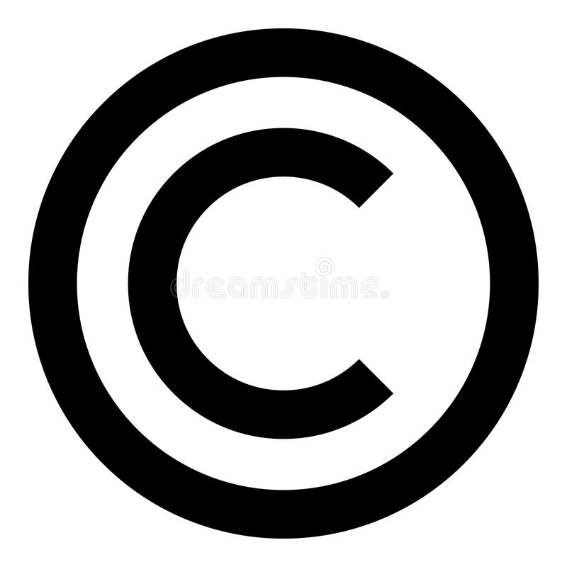 Copyright-van de de kleurenillustratie van het symboolpictogram zwart vlak de stijl eenvoudig beeld vector illustratie
