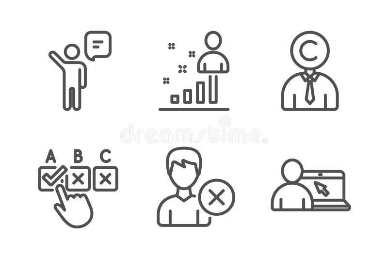 Copyrighter, checkbox correcto y quita el sistema de los iconos de la cuenta Agente, Stats y muestras en l?nea de la educaci?n Ve ilustración del vector