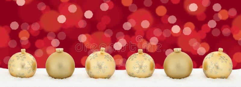Copys d'or de fond de décoration de bannière de boules de lumières de Noël photos libres de droits