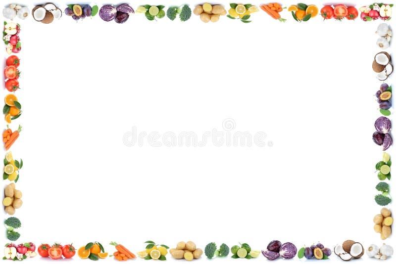 Copysp vegetal del marco de la comida de las naranjas de las manzanas de las frutas y verduras foto de archivo libre de regalías