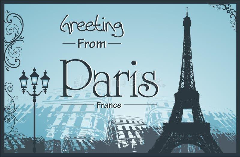 Copyspace减速火箭的样式海报有巴黎背景 库存例证