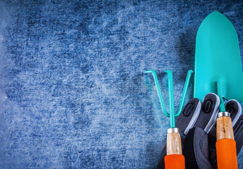 Copyspace земледелия перчаток грабл металла лопаткы руки садовничая стоковые фото
