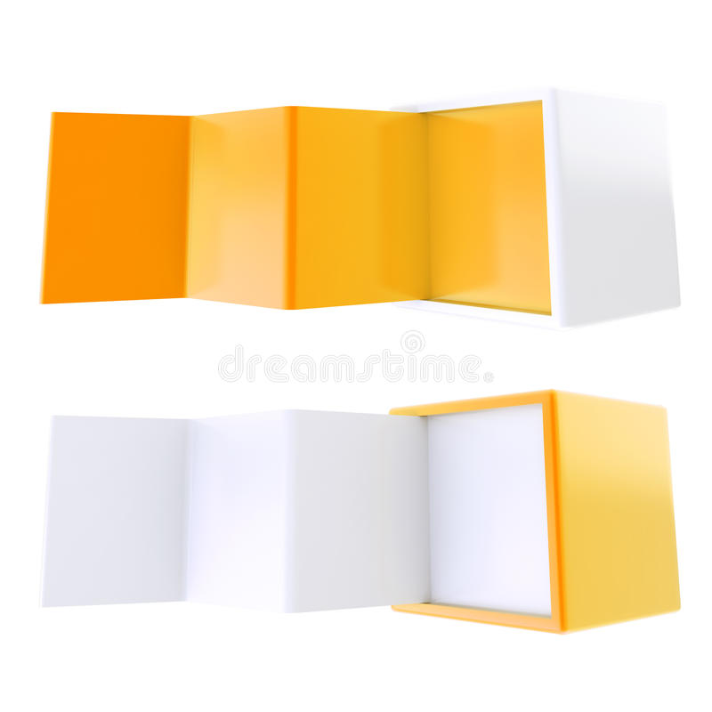 Copyspace banner template as folded four part stand. Copyspace banner template as orange crooked four part stand in a cube box isolated on white, set of two royalty free illustration