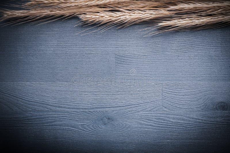 Copyspace bildöron av vete på tappning stiger ombord arkivfoto