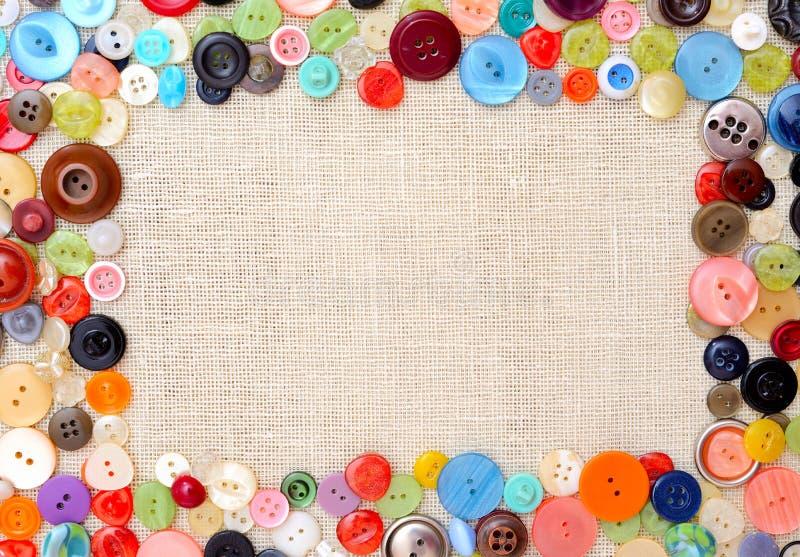 Copyspace bild med mångfärgade sömnadknappar arkivbild