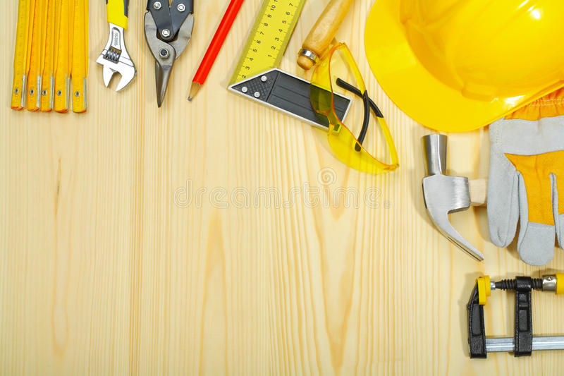 Copyspace of construction tools on wooden boards stock photo