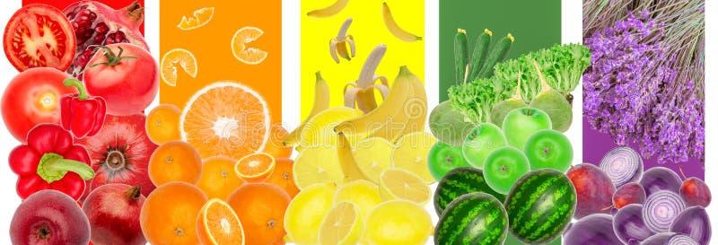 Copyspace d'isolement par fond de modèle d'arc-en-ciel de fruits de légumes illustration de vecteur