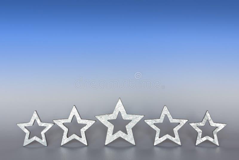 copyspace de gris bleu de 5 étoiles images libres de droits