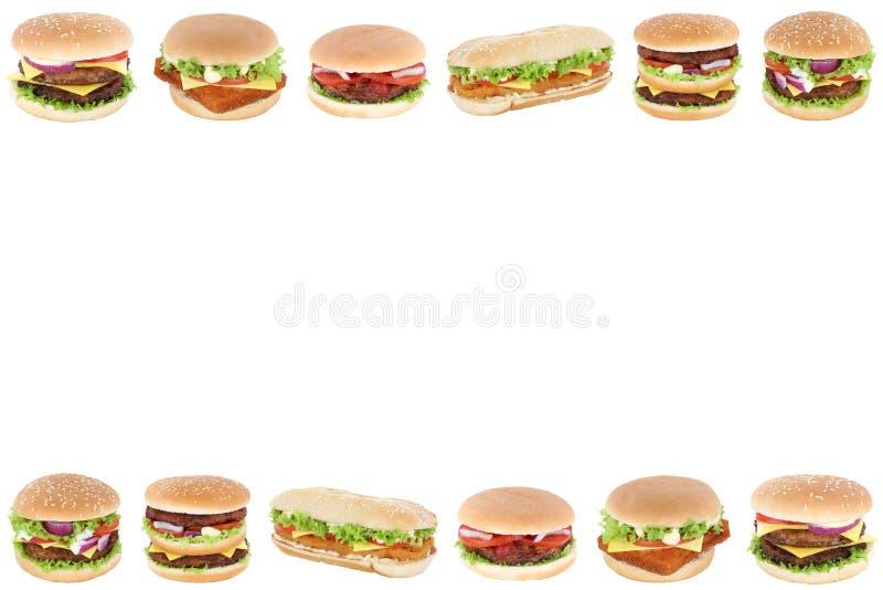 Copyspace de la frontera de los alimentos de preparación rápida de la hamburguesa del cheeseburger de la hamburguesa foto de archivo libre de regalías