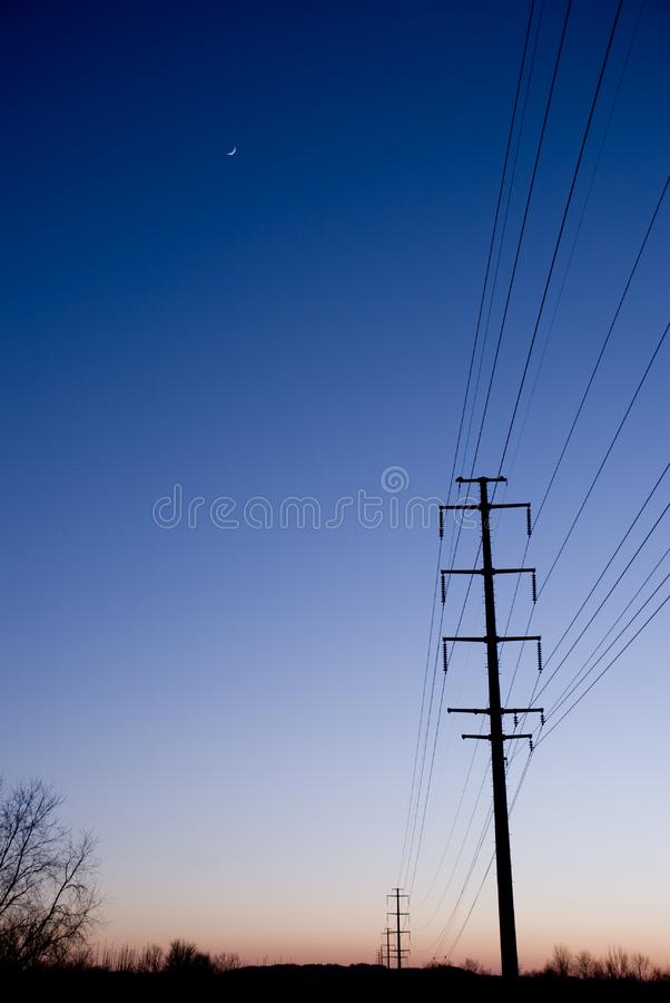 Copyspace electric lines sunset