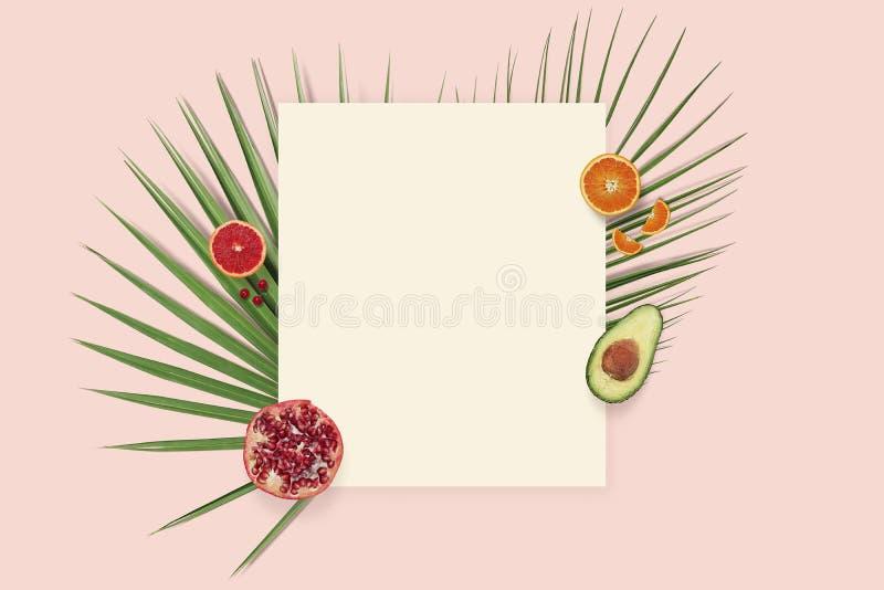Copyspace för kort för sommarferie Flatlay bästa sikt för frukt med papper på den rosa bakgrunden royaltyfri foto