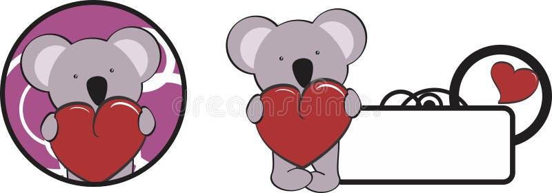 Copyspace för kram för hjärta för valentinkoalatecknad film stock illustrationer