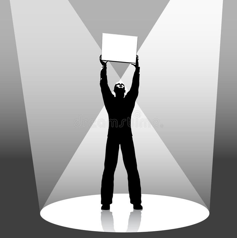 Copyspace Held Spotlit Zeichen lizenzfreie abbildung
