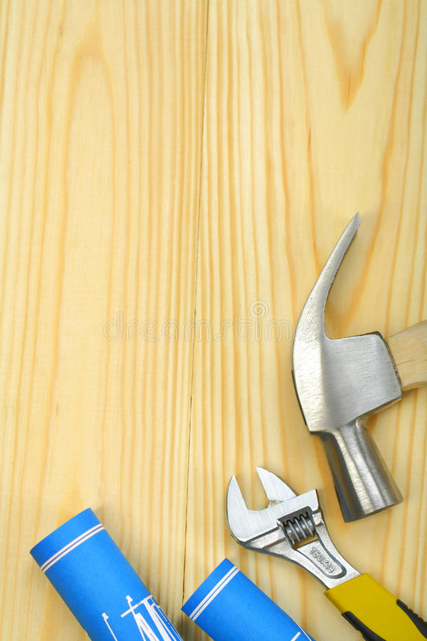 Download Copyspace Image Of Hammer Spanner And Blueprints Stock Photo - Image: 25483776