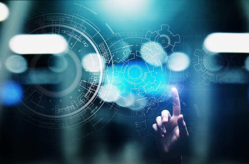 Copyspace, mod?le, dessin, conception, DAO sur l'?cran virtuel Fond pour la technologie, affaires, concept industriel image stock