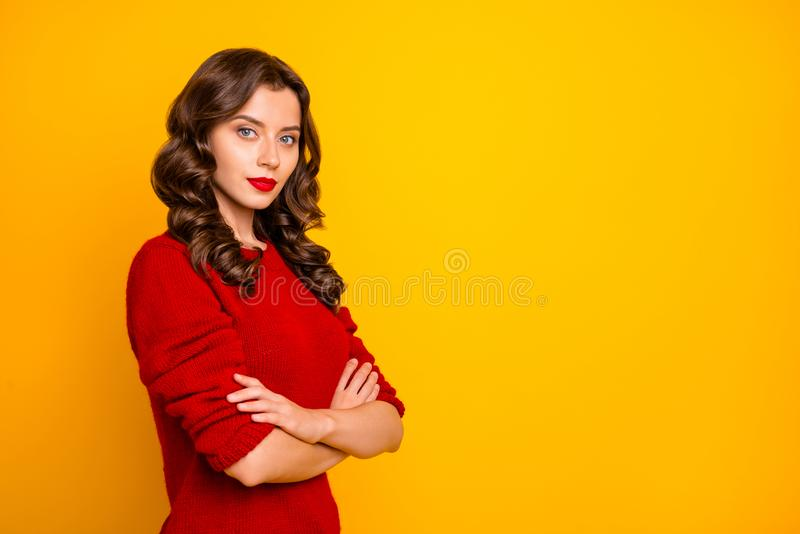 Copyspace photo of charming cute nice beautiful attractive journalist standing with hands folded confident isolated stock images