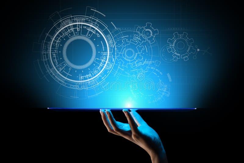 Copyspace, projekt, rysunek, projekt, cham na wirtualnym ekranie Tło dla technologii, biznes, Przemysłowy pojęcie ilustracji