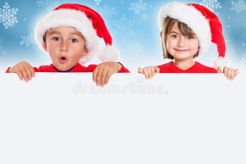 Copyspace vacío de la bandera de Santa Claus de la tarjeta de los niños de los niños de la Navidad imágenes de archivo libres de regalías