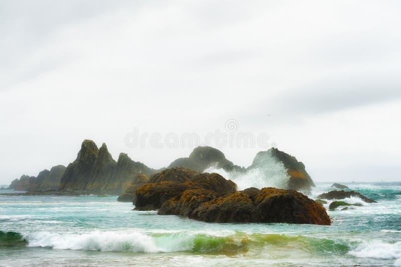 Copyspace van intertidal rotsen at high tide royalty-vrije stock foto's