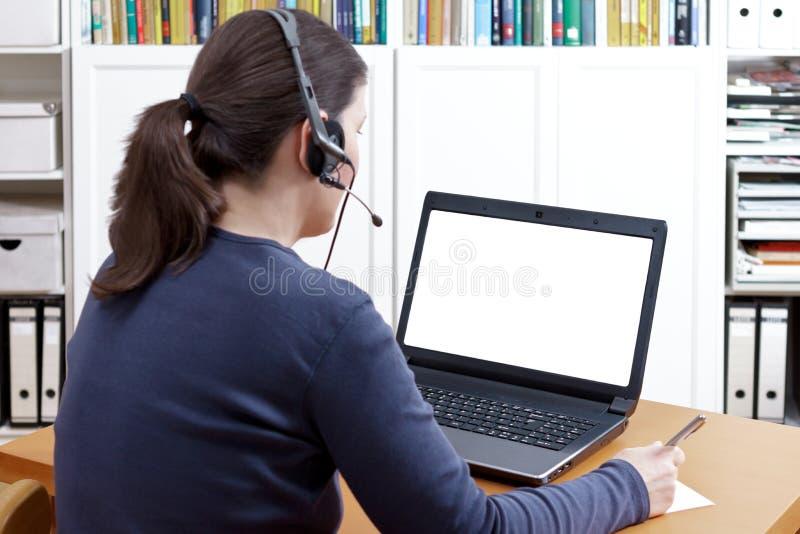 Copyspace visuel d'appel de casque de femme image libre de droits