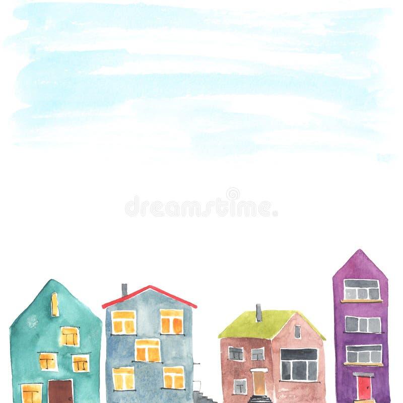 Copyspacekader met de verschillende huizen royalty-vrije illustratie