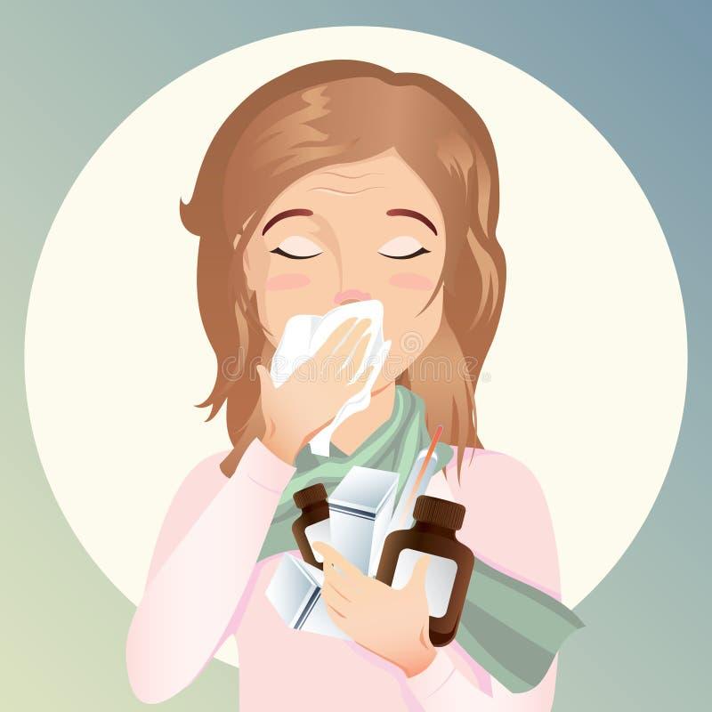 copyspacesoffan har liggande mycket sjukt teakvinnabarn Hon har en rinnande näsa och en hosta royaltyfri illustrationer
