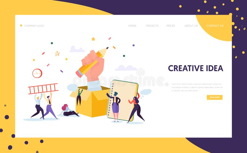 Copywriter Creative Pencil Idea Landing Page. Business Creativity Concept for Website or Web Page. Blog Advertising vector illustration
