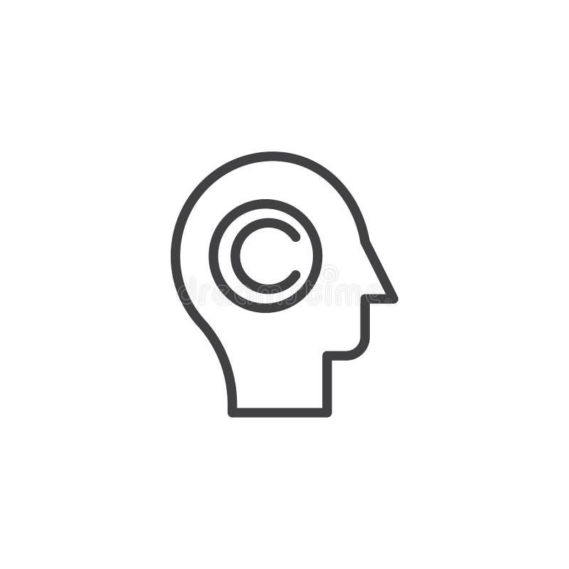 Copywriter head outline icon royalty free illustration
