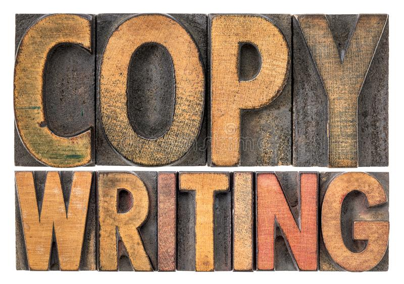 Copywriting在木类型的词摘要 库存图片