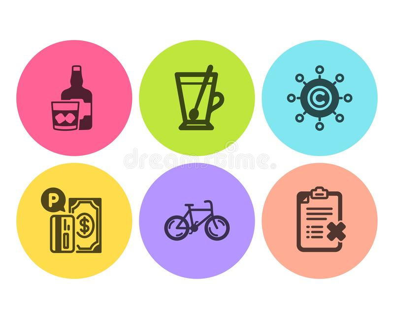 Copywriting网络、茶杯子和威士忌酒玻璃象集合 自行车、停放的付款和废弃物清单标志 ?? 向量例证