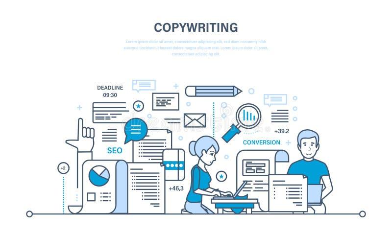 Copywriting Το δημιουργικό γράψιμο των άρθρων, seo, λειτουργεί στην αρχή, διανυσματική απεικόνιση