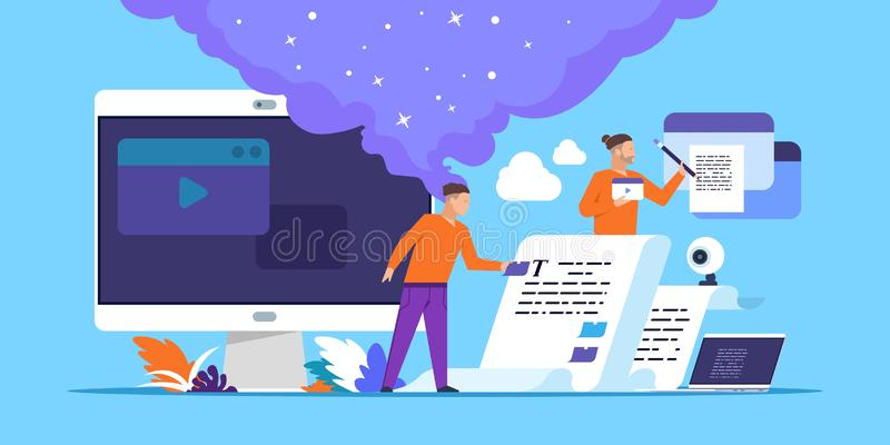 Copywriting. Blog content making with cartoon people characters, freelance article writer concept. Vector online media vector illustration
