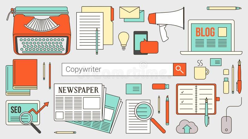Copywriting e bandeira das comunicações ilustração royalty free
