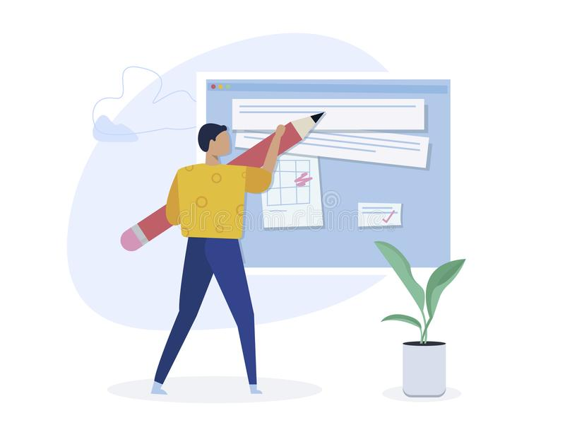 Copywriting, escritura creativa, concepto que crea contento Carácter del Blogger Ejemplo isométrico plano del vector aislado en l stock de ilustración