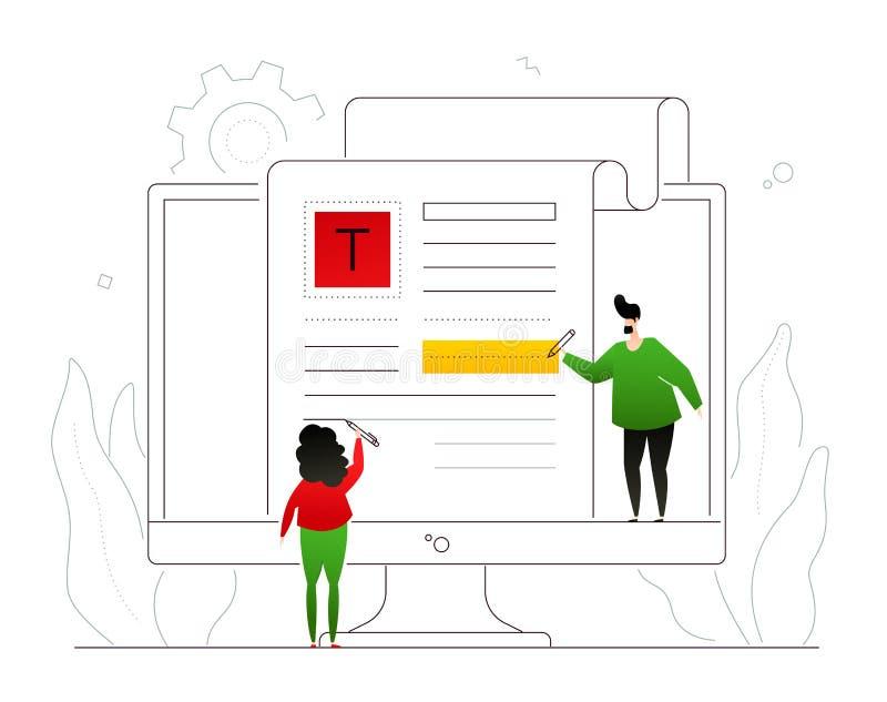 Copywriting - färgrik illustration för modern plan designstil royaltyfri illustrationer