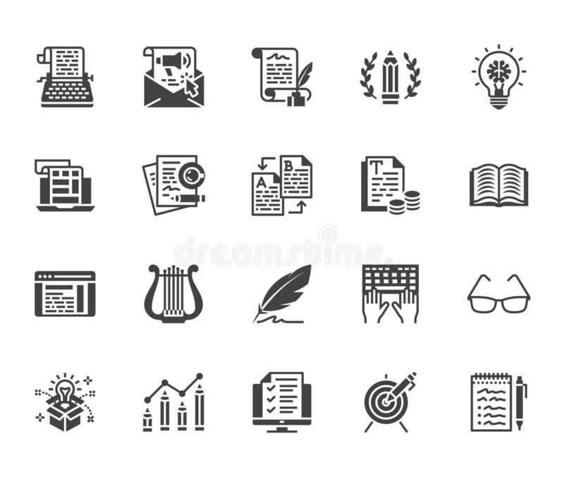 Copywriting flat glyph icons set. Writer typing text, social media content, e-mail newsletter, creative idea, typewriter royalty free illustration