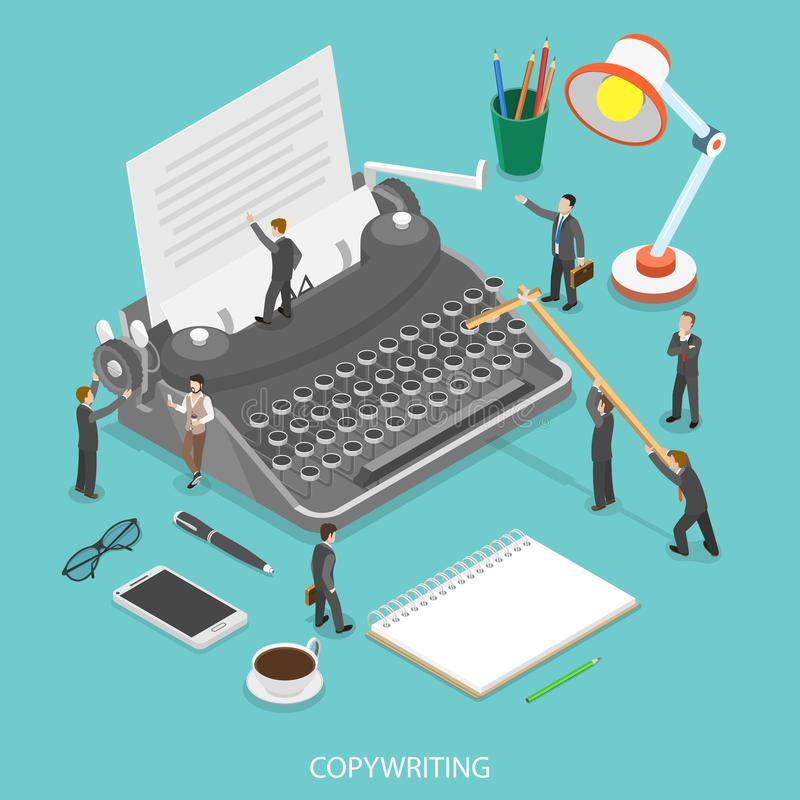 Copywriting flat isometric vector concept. royalty free illustration