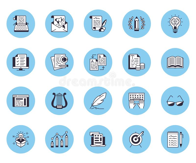 Copywriting flat line icons set. Writer typing text, social media content, e-mail newsletter, creative idea, typewriter. Vector illustrations royalty free illustration