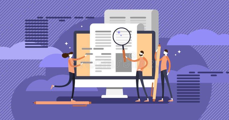 Copywriting, grupo de pessoas do comunicado de imprensa fazendo texto do mercado da pesquisa e da composição ilustração stock
